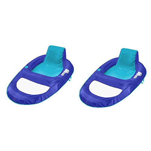 SwimWays Spring Float Recliner XL Floating Swimming Pool Lounge Chair (2 Pack) (Swimways Recliner)