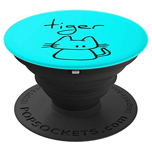 Tiger the cats name funny cool gift my cute cat on Teal - PopSockets Grip and Stand for Phones and Tablets