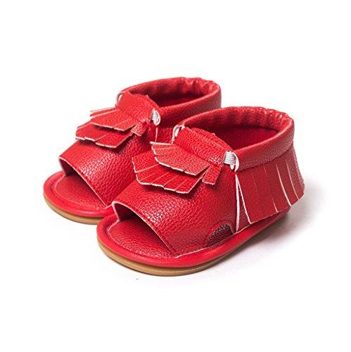 Bebé Prewalker Zapatos Auxma Zapatos del verano de la primavera de los niños de los bebés Sandalias de Moda Para 3-18 Mes Rojo