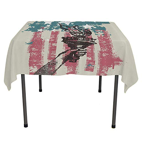 (American Flag Decor BBQ Tablecloth Abstract USA Patriot Sign 4th of July Country Coat of Arms Decor Pink Light Blue Tablecloth Waterproof Camping Spring/Summer/Party/Picnic 52 by 70)