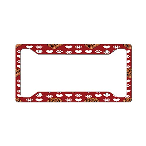 Style In Print Custom License Plate Frame Bavarian Mountain Hound Dog Red Aluminum Cute Car Accessories Wide Top Design Only Set of 2