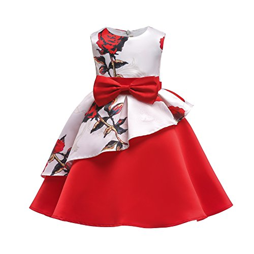 YCJemu Flower Girls Dresses Kids Floral Print Party Dress Princess Gowns Bow Party Wedding Dresses