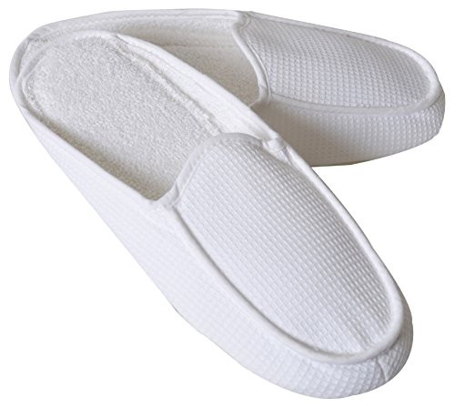 Poyet Motte Made In France Symphonie Moc 100% Cotton Waffle Weave Slippers, 6.5/7.5, White