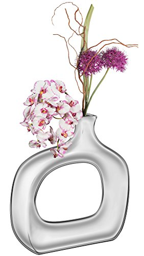 Large Product Image of Halter HAL-268 Fine Ceramic Vase with a Metallic Chrome like Finish– Ideal for home décor or for party centerpieces. Great Quality, Sturdy, and Stylish - Top Gift Idea! (Small)