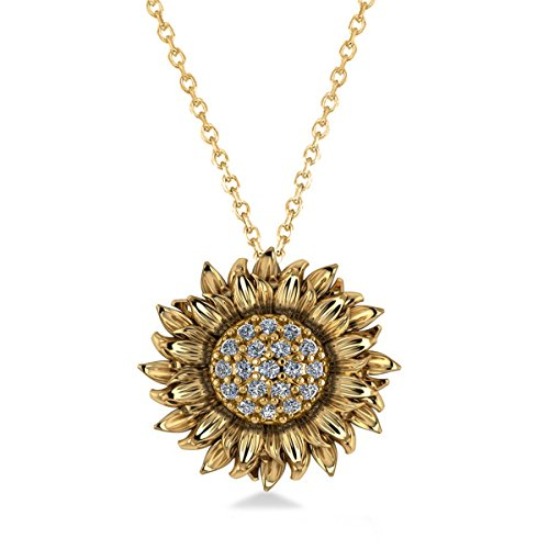 (0.19ct) 14k Yellow Gold Sunflower Diamond Pendant Necklace 14k Yellow Gold Sunflower