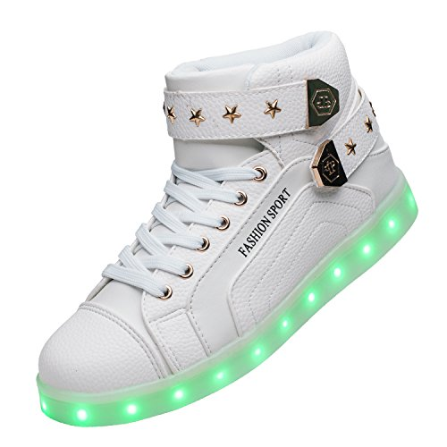 xi wei hu USB Chargeable High-Tops Light up Led Shoes Glowing Sneakers
