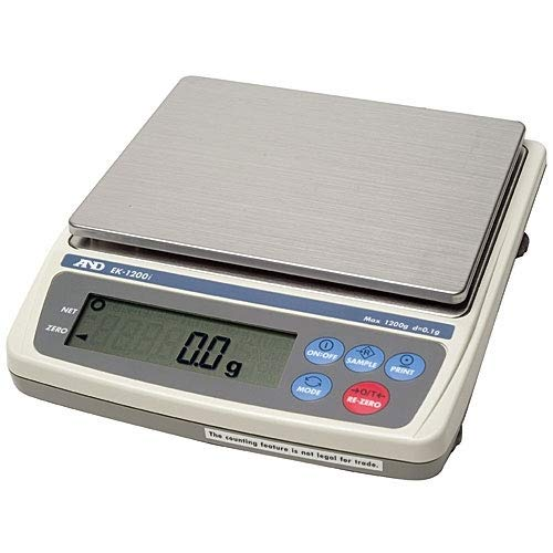 Image of Lab Balance, A&D Weighing EK-1200i NTEP, Legal For Trade Everest Compact Balance Series, 1200 Grams x 0.1 Grams NEW !! (Measures in G, OZ, OWT, DWT, CT, GN) Postal Scales