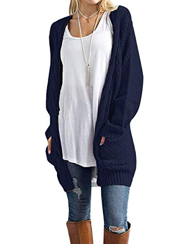 GRECERELLE Women's Loose Open Front Long Sleeve Solid Color Knit Cardigans Sweater Blouses with Packets Navy Blue-S