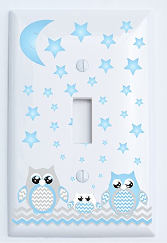 Grey and Blue Owl Light Switch Plate Covers Single Toggle/Owl Woodland Forest Animal Nursery Decor (Single Toggle Light Switch Plates) by Presto Light Switch Plate Covers