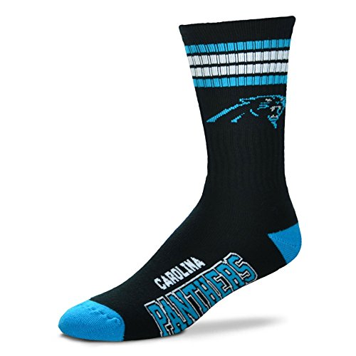NFL 4 Stripe Deuce Crew Socks Mens-Carolina Panthers-Size Large(10-13) by Fore Bare Feet