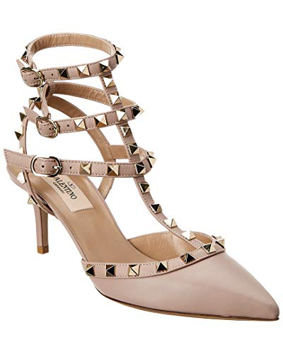 VALENTINO Rockstud Cage 65 Leather Ankle Strap Pump, 38, Brown from VALENTINO