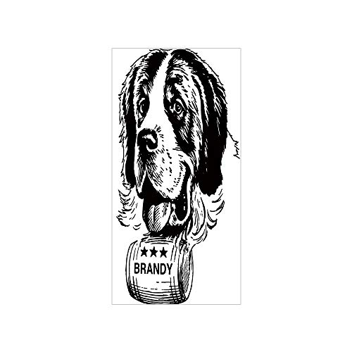 Decorative Privacy Window Film/Sketch of Saint Bernard Rolling a Keg of Brandy Whiskey Stars Retro Decorative/No-Glue Self Static Cling for Home Bedroom Bathroom Kitchen Office Decor Black and White -