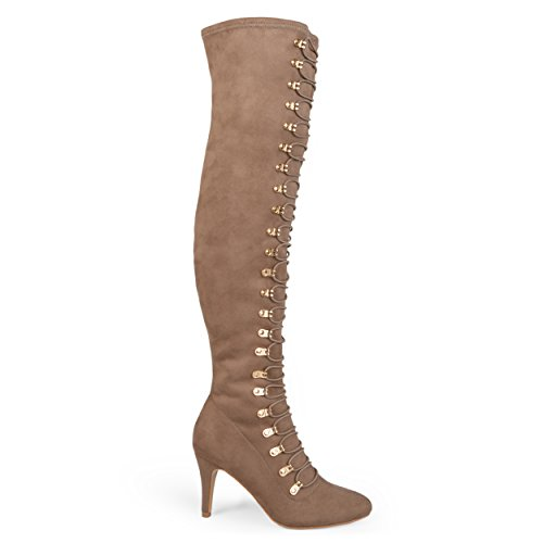 Boots and Vintage Regular Calf The Co Womens Brinley Wide Almond Over Toe Taupe Knee Ftw1AWq7x