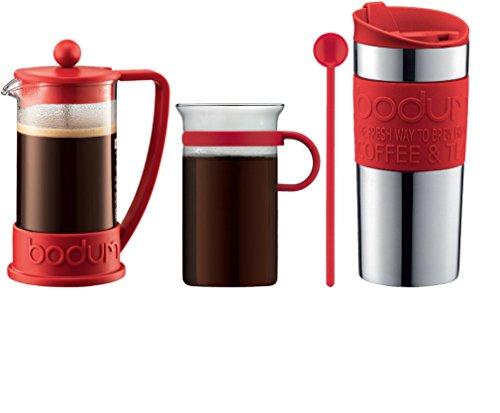 Bodum - Coffee Set - Coffee Press, Travel Mug, Glass Mug, Spoon - Red (Coffee Bodum Vacuum)