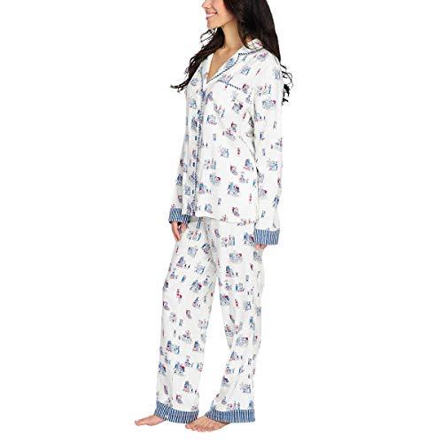 munki munki Pajamas for Women Classic Flannel PJ Set Long Sleeve (Costco Shopping White, Small)