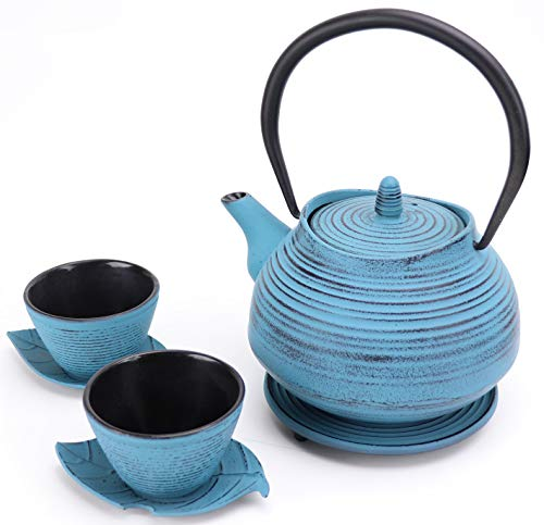7 Pc Cast Iron Japanese Tea Set with Teapot, Trivet, Strainer, Cups and Leaf Shaped Saucers | Blue and Black Metal Tetsubin Tea Kettle with Infuser | Brew Tea in an Asian Loose Leaf Tea Maker