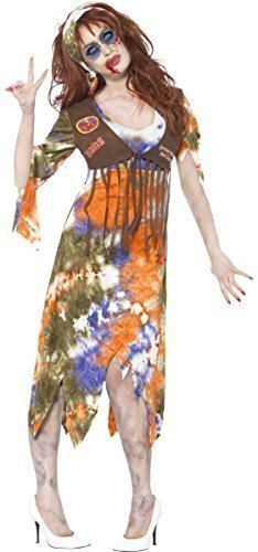 (Ladies Zombie 1960s 60s Hippy Hippie Halloween Fancy Dress Costume Outfit 8-18 (UK 16-18))