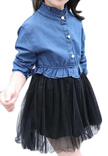 Fulok Girls Basic Long Sleeve Mesh Splice Button Down Denim Tutu Dress Black 6X by Fulok