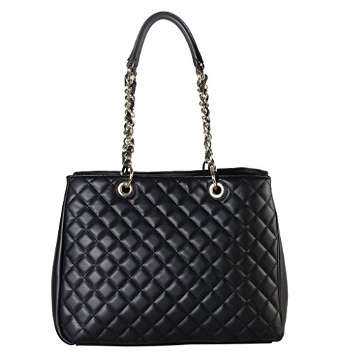 rimen-co-pu-leather-large-quilted-multi-spaced-tote-accented-with-chain-handle-womens-purse-handbag-