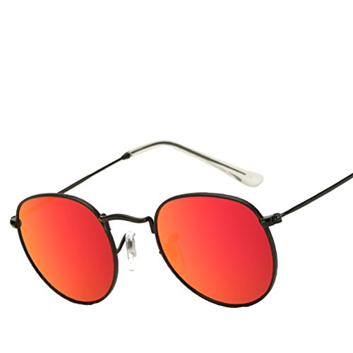 Polarized with Black Men de Case Vintage frame des Sunglasses for Glasses Classic Women Zhhyltt soleil Red Personality lunettes Round mercury aqzx6xw0