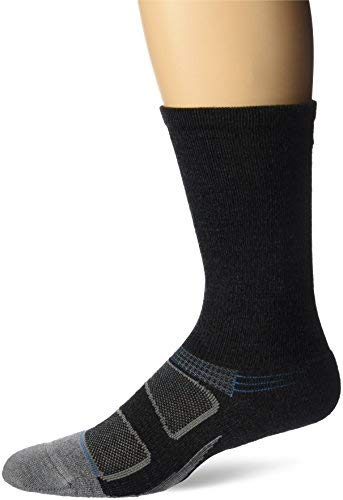 Feetures! Men's Elite Merino+ Cushion Crew, Charcoal + Brilliant Blue, Small
