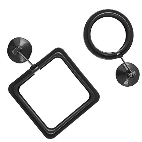 SLSON Fish Feeding Ring Aquarium Fish Floating Food Feeder Circle Square and Round with Suction Cup,Set of 2 ()