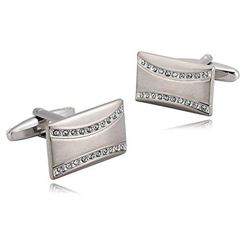 - Aooaz Mens Stainless Steel Cufflinks Silver Rectangle Crystal Shirt Business Wedding 2.2X1.3Cm [Gift Box]