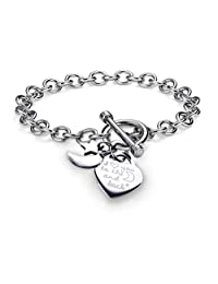 """Polished Stainless Steel """" I Love You to the Moon and Back"""" Heart Toggle 3 Charms Bracelet Chain 7.5"""""""