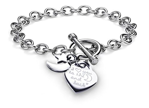 (Charms Bracelet Heart Toggle I Love You To The Moon and Back Stainless Steel Chain 7.5