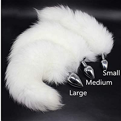 White & Gray Color Interval Three Sizes Fluffy Faux Fox Tail & Cat Ears Headband Charms Role Play Costume Party Cosplay Prop (S): Toys & Games