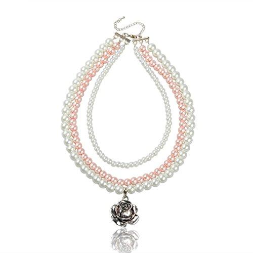 3-reihige Perlenkette rosa und weiß mit Rosenanhänger von Meiner Glitzerwelt
