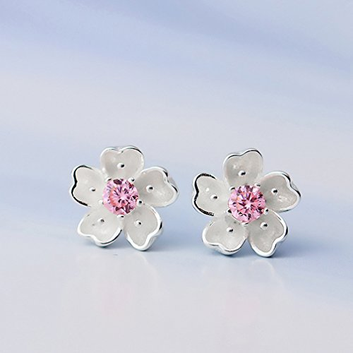 UNKE Romantic Sakura Cherry Blossom Flower Stud Earrings for Women Girls Party Ball Wedding