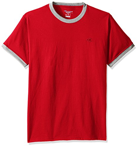 Champion Men's Classic Jersey Ringer Tee, Scarlet/Oxford Gray Heater, (Equipment T-shirt)