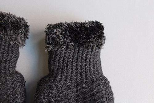 Black lined gloves faux fur knit stretch gloves winter super warm ladies by RIX Women's Luxury (Image #2)