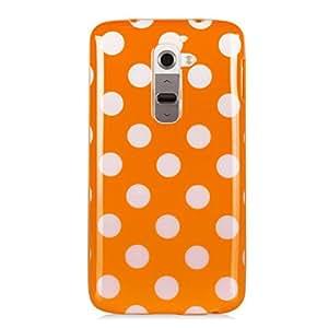mattWill Jelly Tpu Rubber Slim Polka Dot Case for LG G2 (Orange)