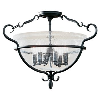 Sea Gull Lighting 7700-07 6-Light Manor House Close-to-Ceiling Fixture, Clear Seeded Glass and Weathered Iron