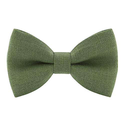 Linen Classic Pre-Tied Bow Tie Formal Solid Tuxedo, by Bow Tie House (Medium, Asparagus) - Juniper Green Apparel