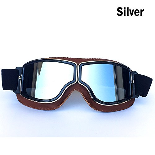HCMAX Vintage Goggles Sports Sunglasses Helmet Steampunk Eyewear for Outdoor Motocross Racer Motorcycle Aviator Pilot Style Cruiser Scooter Goggles Retro Brown Frame Sliver Lens