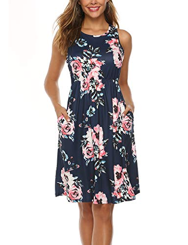 (OURS Womens Casual Sleeveless A-line Floral Printed Flowy Dresses Pockets Navy Blue M)