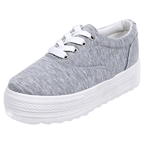 Women's Solid ASVOGUE Platform Color up Lace Grey Sneakers Canvas Flat dq5fg5