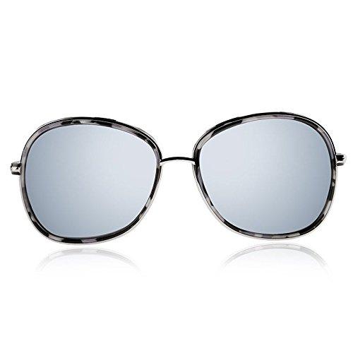 de Ovalado Gafas polarizadas Sunglasses de Mujer TL Redondo Sol Plata anteojos Silver SOq6xx