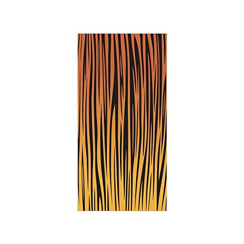 3D Decorative Film Privacy Window Film No Glue,Animal Print Decor,Vertical Curvy Lines Stripped Tiger Skin Pattern Print Artful Design Illustration,Orange Black,for Home&Office ()