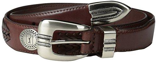 [PGA TOUR Men's Ornamented Belt with Lacing, Cognac, 38] (Golf Concho Belts)