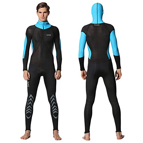 Lycra Rash Guard - Full Body Scuba Rash Guard Lycra Dive Skin UV Swimwear Sport Skins for Men Women, Long Sleeve One Piece Front Zipper Diving Wetsuit for Surfing Swimming Snorkeling Canoeing (Men's Light Blue, L)