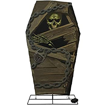 48 battery operated led lighted skeleton in coffin with timer halloween yard art decoration