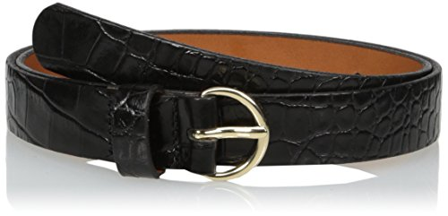 (Circa Women's Handcrafted Italian Leather Croc Embossed Belt, L)