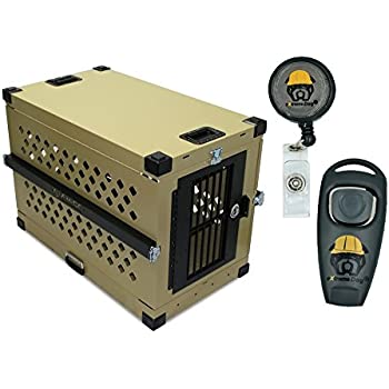 Collapsible Dog Crate Khaki - X-Large - IATA 82 Airline Compliant - Powder Coated Aluminum Folding Dog Travel Crate with Handles and Rails and eXtreme Dog Training Clicker Bundle