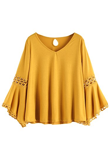 MAKEMECHIC Women's Bell Sleeve V Neck Contrast Crochet Lace Tee Shirt Blouse Top Yellow L