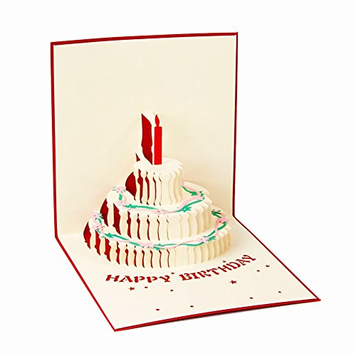 ENJOYPRO Birthday Card, 3D Pop Up Happy Birthday Cake Greeting Cards, Handmad Pop Out Cards With Envelope (3D Birthday Cake, Pack of ()