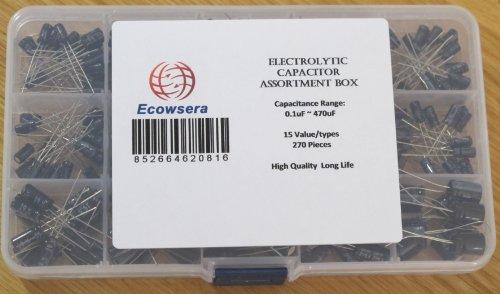 15 Value 270 pcs Electrolytic Capacitors Assortment Box Easy Use